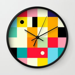 Geometric Bauhaus Pattern | Retro Arcade Video Game | Abstract Shapes Wall Clock