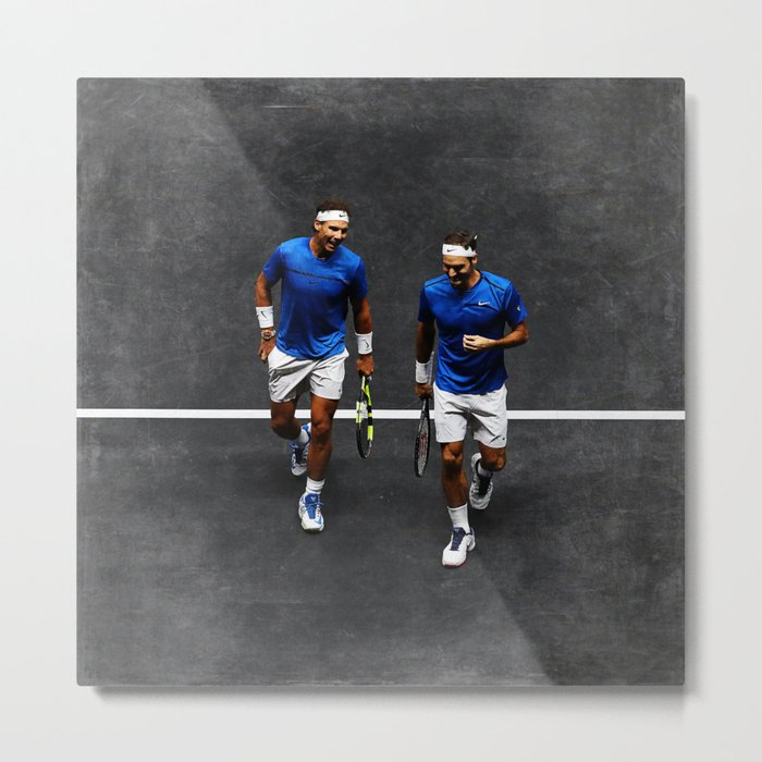 Nadal and Federer Doubles Metal Print