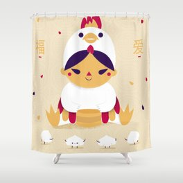 Red Rooster and Dumplings Shower Curtain