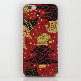 Funky Winter Pine Trees Hats Gold Black Red Background Pattern iPhone Skin