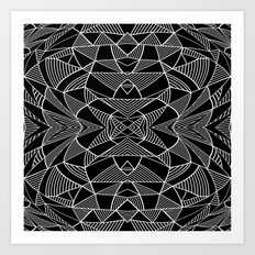 Abstraction Lines Mirrored White on Black Art Print