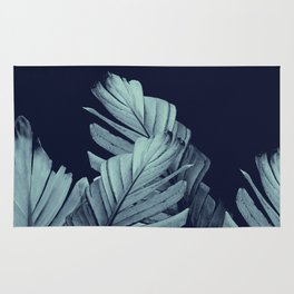 Navy Blue Banana Leaves Dream #1 #tropical #decor #art #society6 Rug