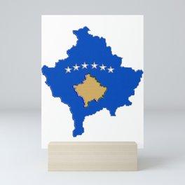 Kosovo map with Flag of Kosovo Mini Art Print