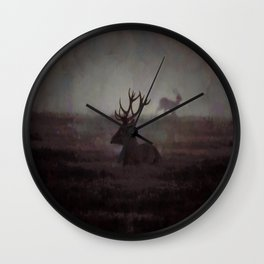 Silhouette Of A Highland Stag Wall Clock
