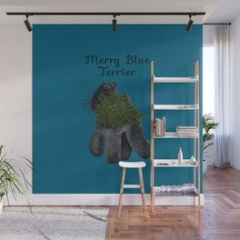 Merry Blue Terrier (Blue Background) Wall Mural