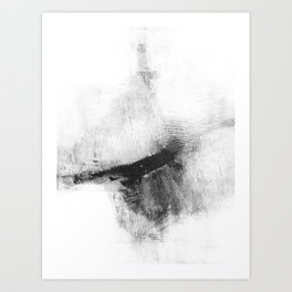 """Black and White Minimalist Abstract Painting """"Delve 5"""" Art Print"""