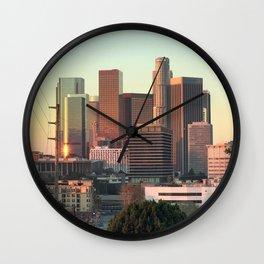 Los Angeles skyline at dawn Wall Clock
