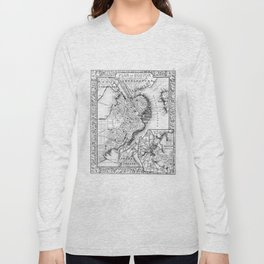 Vintage Map of Downtown Boston (1864) BW Long Sleeve T-shirt