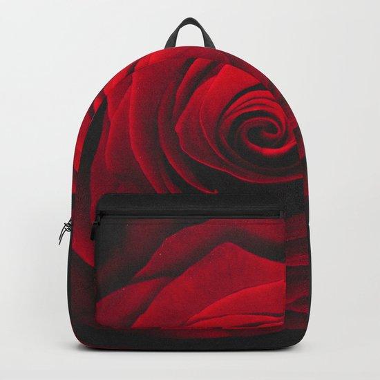 Red rose on black background vintage effect Backpack