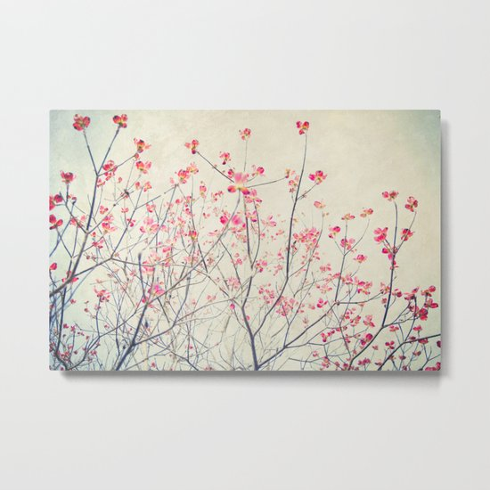 Ruby and Rose Quartz -- Red Pink Dogwood Tree in Flower Metal Print