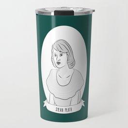 Sylvia Plath Illustration Portrait Travel Mug