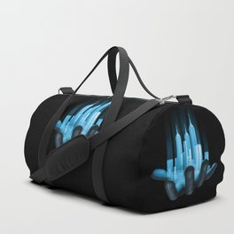 Virtualville / 3D render of miniature holographic city in human hand Duffle Bag