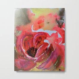 Golden Gloomy Garden Flower Metal Print