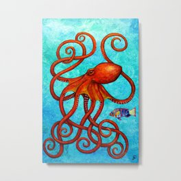 Distracted - Octopus and fish Metal Print