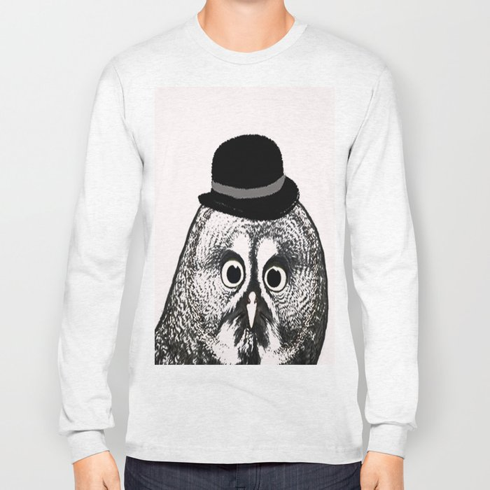 Owl in Bowler Hat  Long Sleeve T-shirt