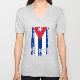 CU CUB Cuba Flag Unisex V-Neck