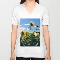 sunflowers V-neck T-shirts featuring Sunflowers by Falko Follert Art-FF77