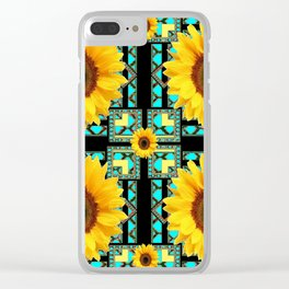 WESTERN STYLE  BLACK COLOR YELLOW SUNFLOWERS ART Clear iPhone Case