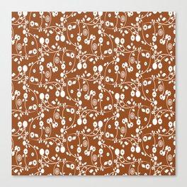 Brown Floral Pattern Canvas Print