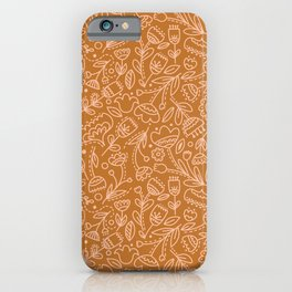 Floral Doodle in Bronze iPhone Case