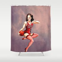 chicago bulls Shower Curtains featuring Chicago Bull Girl by Carrillo Art Studio