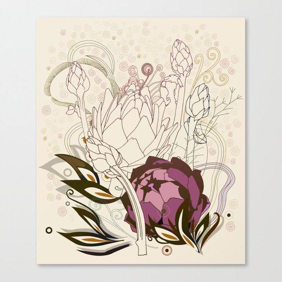 Peach and purple  artichoke Canvas Print