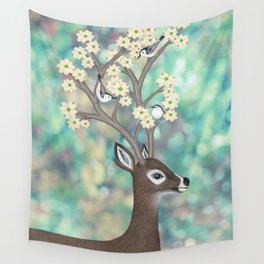 white tailed deer, white breasted nuthatches, & dogwood blossoms Wall Tapestry