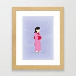 The woman with a kimono Framed Art Print