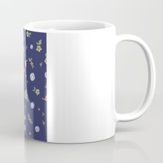 Floral with Birds on blue Coffee Mug
