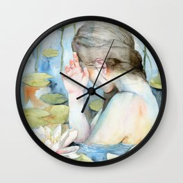 Let me go, White Water Lily Girl Wall Clock