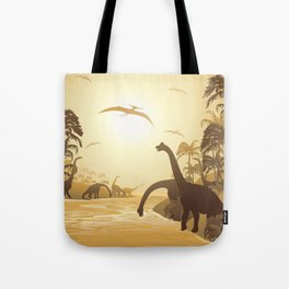 Dinosaurs on Tropical Jurassic Landscape Tote Bag
