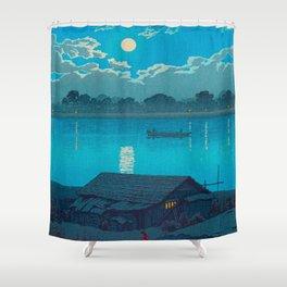 Vintage Japanese Woodblock Print Fishing Village At Night Fishing Boat Moonlight Shower Curtain
