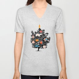 Retro Christmas tree no3 Unisex V-Neck