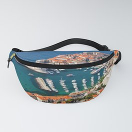 Old Town Of Dubrovnik Aerial View Fanny Pack