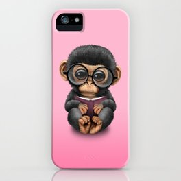 Cute Pink Baby Chimp Reading a Book iPhone Case
