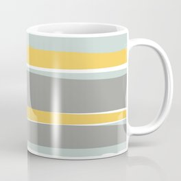 Stripe Abstract, Sun and Beach, Yellow, Pale, Aqua Blue and Gray Coffee Mug