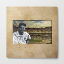 Baseball Vintage Lou Gehrig Metal Print