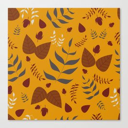 Autumn leaves and acorns - ochre and brown Canvas Print