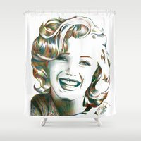 cassandra jean Shower Curtains featuring Norma Jean by ShayMacMorran