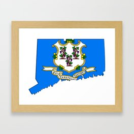 Connecticut Map with Flag Framed Art Print