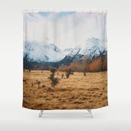 Peaceful New Zealand mountain landscape Shower Curtain