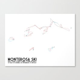Monterosa Ski, Aosta Valley, Italy - EUR Edition (Unlabeled) - Minimalist Trail Art  Canvas Print