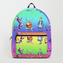 Alice, Cat, Rabbit Graphic Pattern Backpack