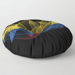 Colombia Smoke Flag on Black Background, Colombia flag Floor Pillow