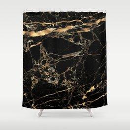 Marble, Black + Gold Veins Shower Curtain