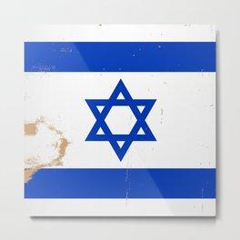 Israel Flag Grunge Metal Print