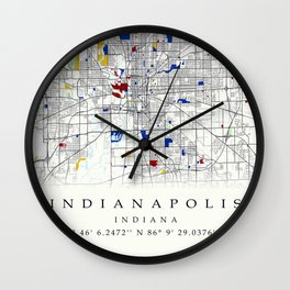 Indianapolis map poster print wall art | Indiana gift  | Modern map decor Wall Clock