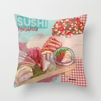 sushi Throw Pillows featuring Sushi! by Desdibujando