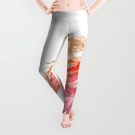 Flamingo Bird - Pink And Coral Watercolors Leggings