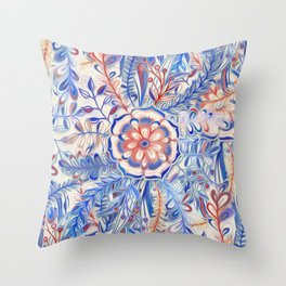 Boho Flower Burst in Red and Blue Throw Pillow